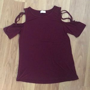 Pink Lily Boutique cold shoulder tee